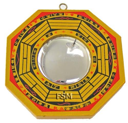 """Convex Bagua Mirror~4"""" Wooden Handpainted"""