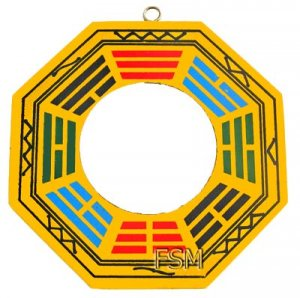 "Flat / True Glass Bagua Mirror~4"" Wooden Handpainted (B)"