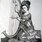 paper cut  chinese folk art product woman and musical instrument #002