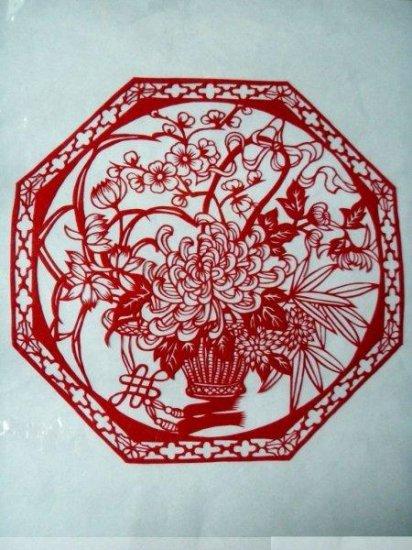 paper cut chinese folk art product flower basket chrysanthemum autumn  #022