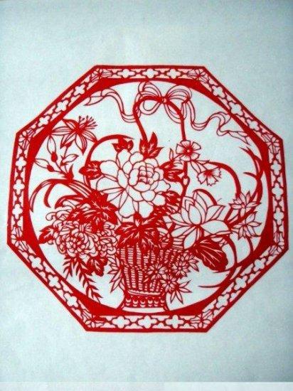paper cut china folk art product flower basket spring #023
