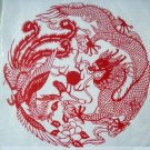 paper cut chinese folk art product prosperity brought by the dragon and the phoenix#024