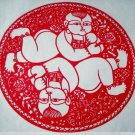 paper cut chinese folk art product two little children #035