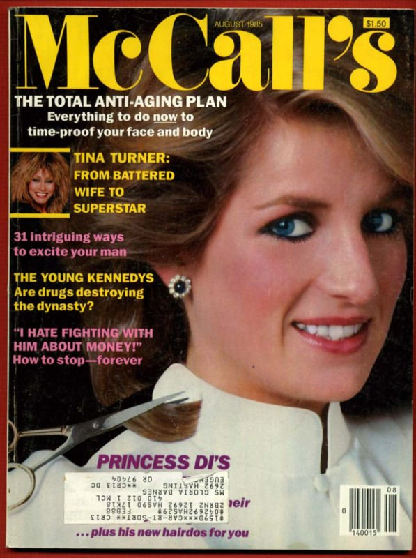 McCalls Magazine - August 1985 - Princess Diana , Tina Turner