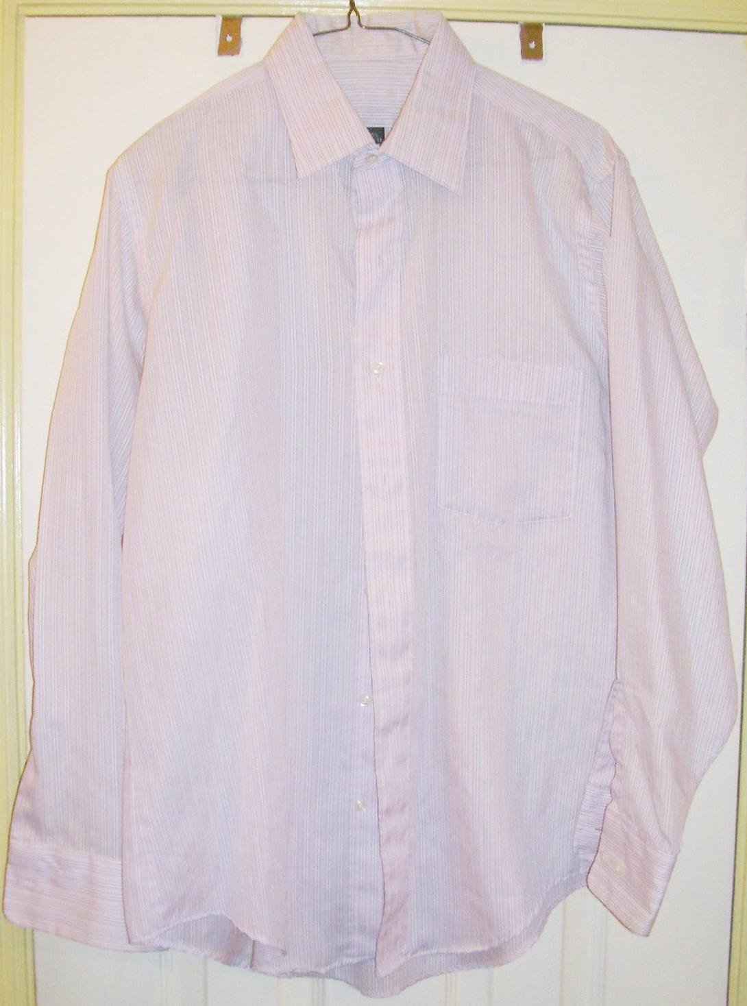 Vintage men 39 s striped dress shirt size 15 1 2 for Size 15 dress shirt