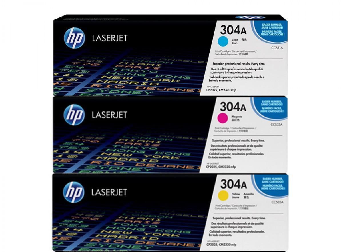 Genuine HP 304a Laser Jet Ink Cartridges, Tri-Color ; New, Sealed