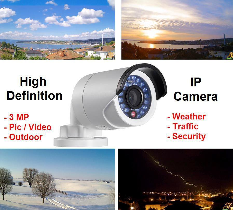 Ultra Low Light Color Outdoor High Definition HD 3MP IP Camera ; Security, Weather, Traffic Cam