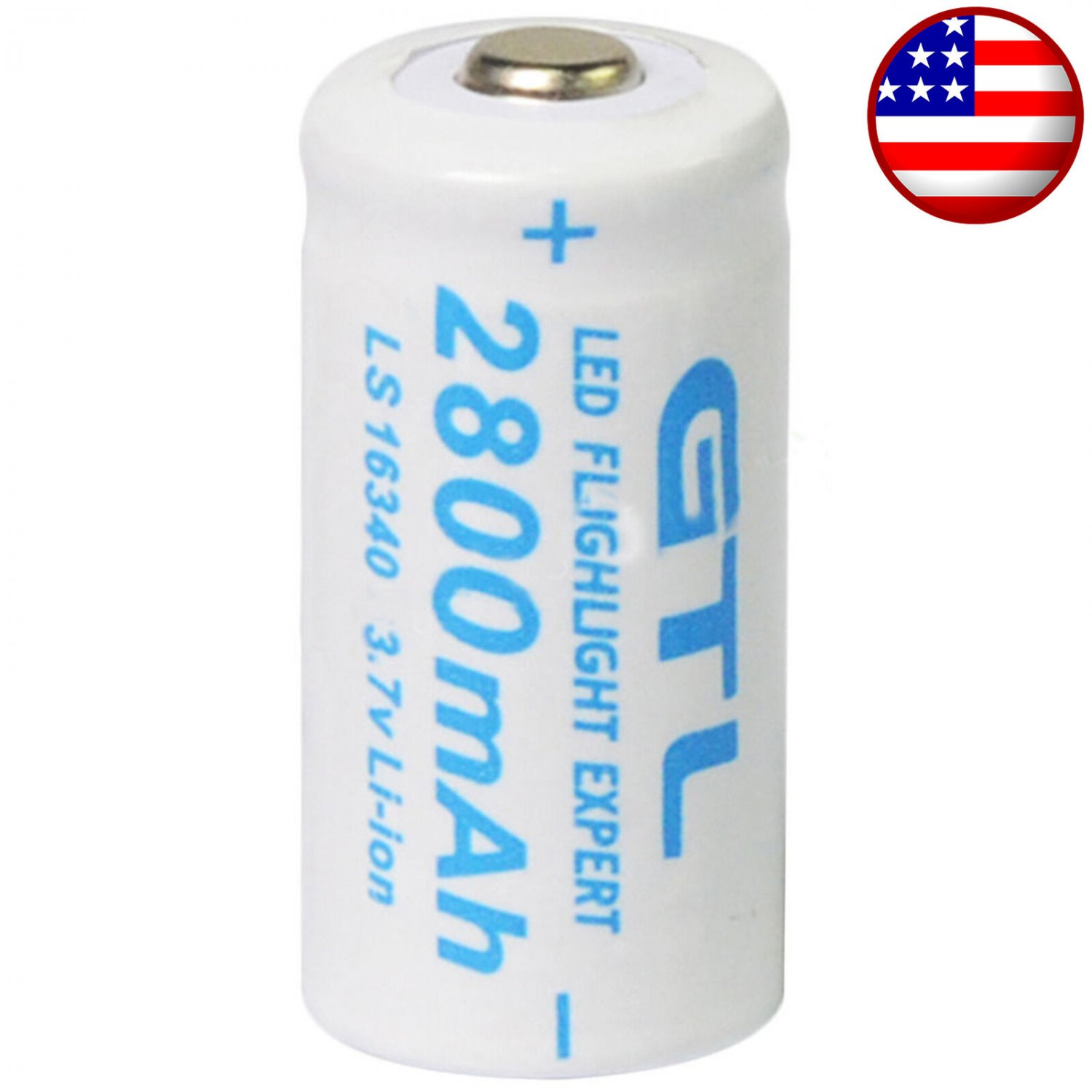 2x Rechargeable 3.7V batteries ; CR123A , 123A , CR123 , 16340 , CR17345