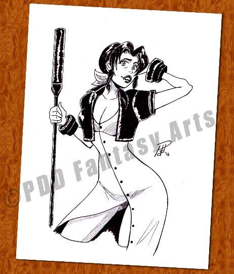 Aerith Aeris Gainsborough Final Fantasy 8 x 10 Original Ink Drawing (OOAK)
