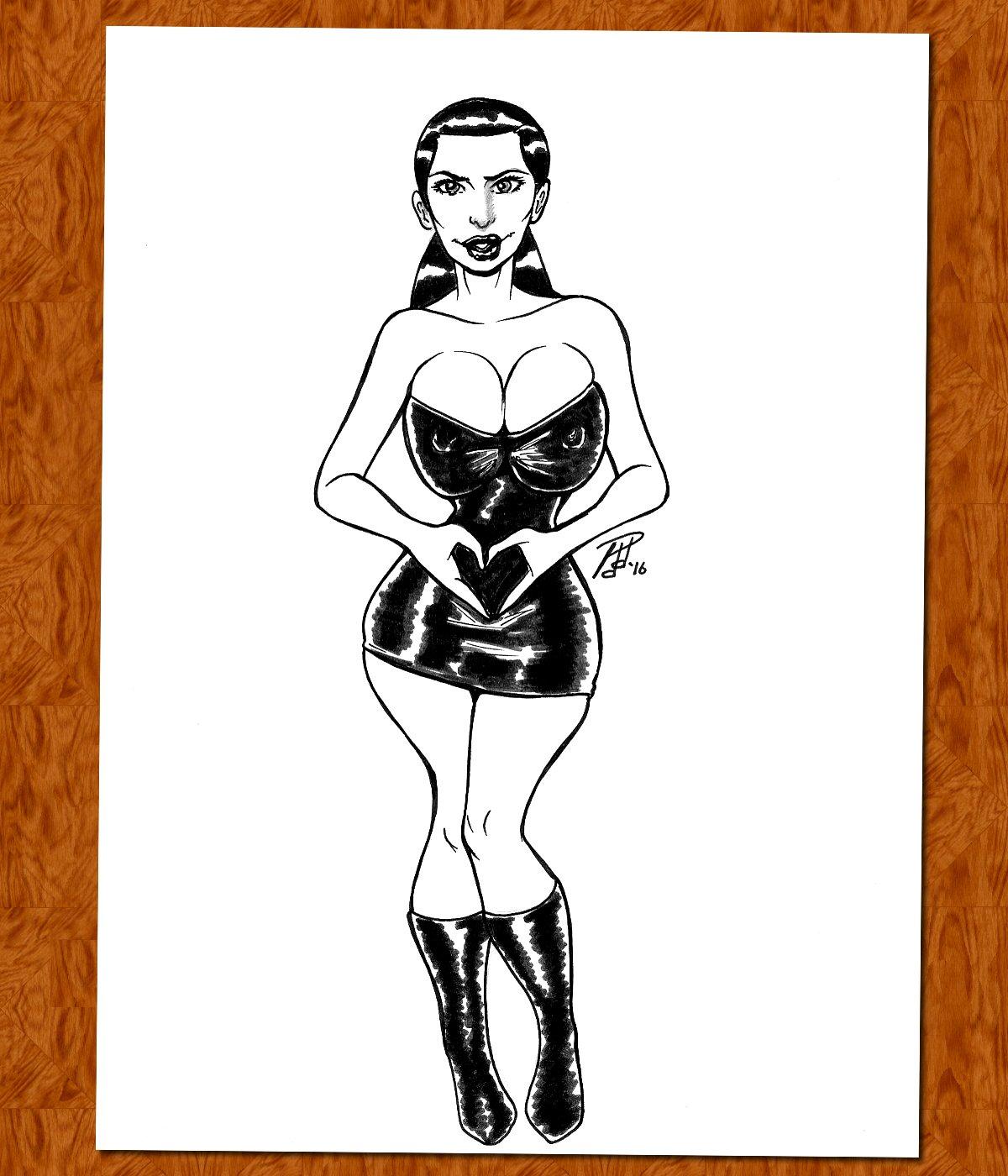 Kim Kardashian Comic Art Original Pinup Pen and Ink Drawing (OOAK)