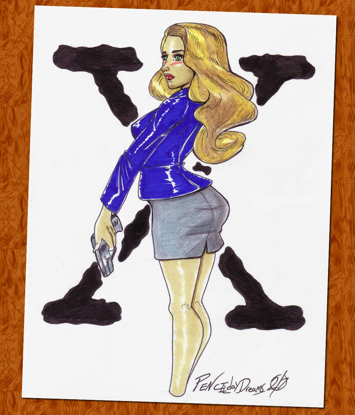"Agent Dana Scully Original Marker Drawing 9"" x 12"" (OOAK)"