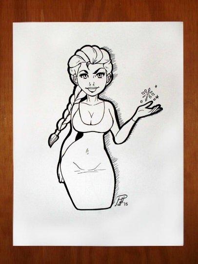 Elsa Frozen 8 x 10 Ink Drawing (OOAK)