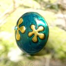 Two Flowers on Emerald Green Background -- Brass Adjustable Ring