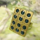 3x4 DOTS -- Antique Brass Adjustable Ring