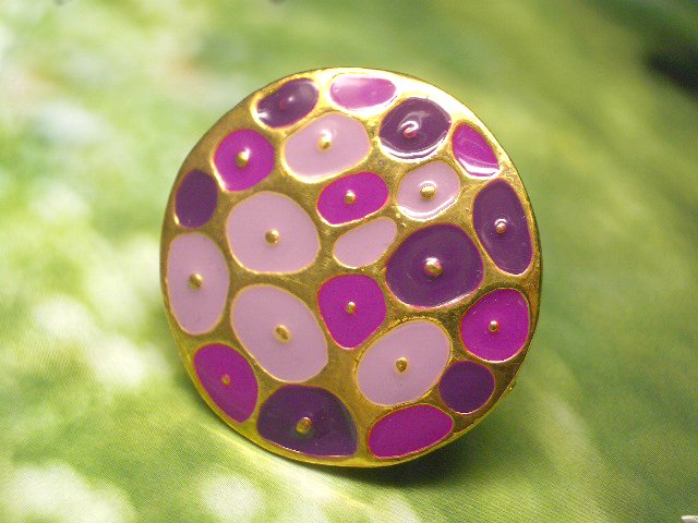 PURPLE DOTS -- Colored Metal Adjustable Ring