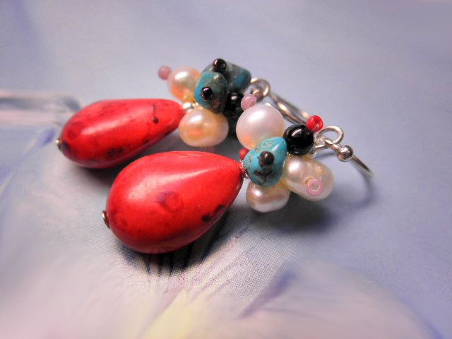 RED DROPS -- Red Coral Turquoise Pearl Gem Glass Beads Sterling Silver Earrings