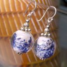 Handpainted Ceramic White Blue Glass Beads Sterling Silver Dangles EARRINGS