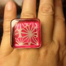 Hand-painted Magenta Pink and Light Grey Flower RING