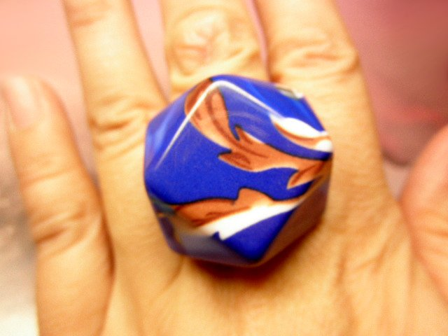 Retro Mod Leaf Pop Fun Chunky Ring -- Blue