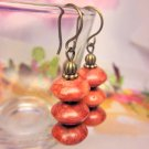 Brownish Orange Coral Gemstone Beads Antique Bronze-Look Vintage Dangle Earrings