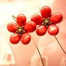 RED LOVE -- Coral Teardrop Beads Brass Dangle Earrings