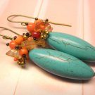 Turquoise Coral Beads Antique Brass Dangle Earrings
