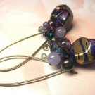 IRRESISTIBLE PURPLE -- Vintage Bead Antique Brass Dangle Earrings