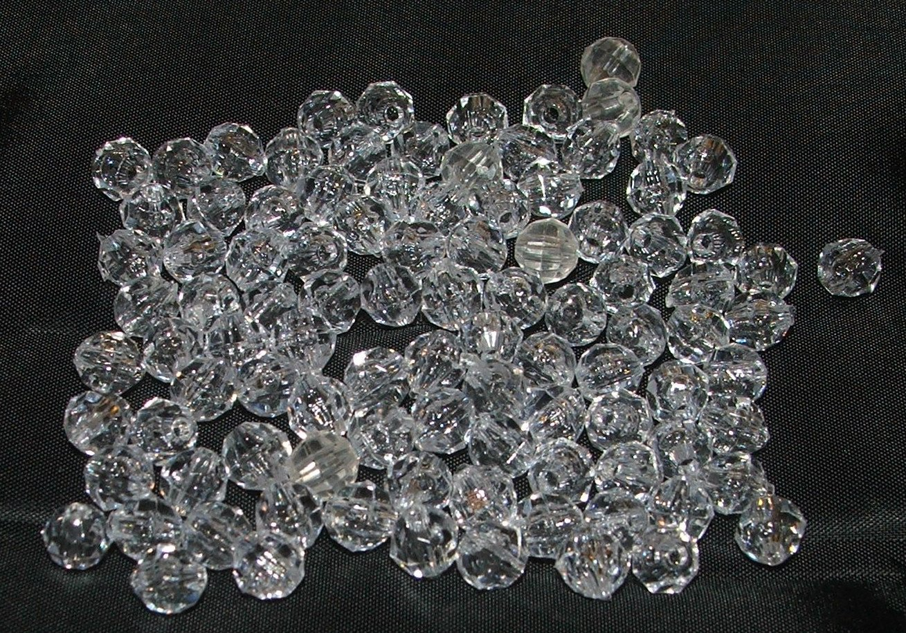 Clear Acrylic Faceted Beads - 0.4 oz Lot