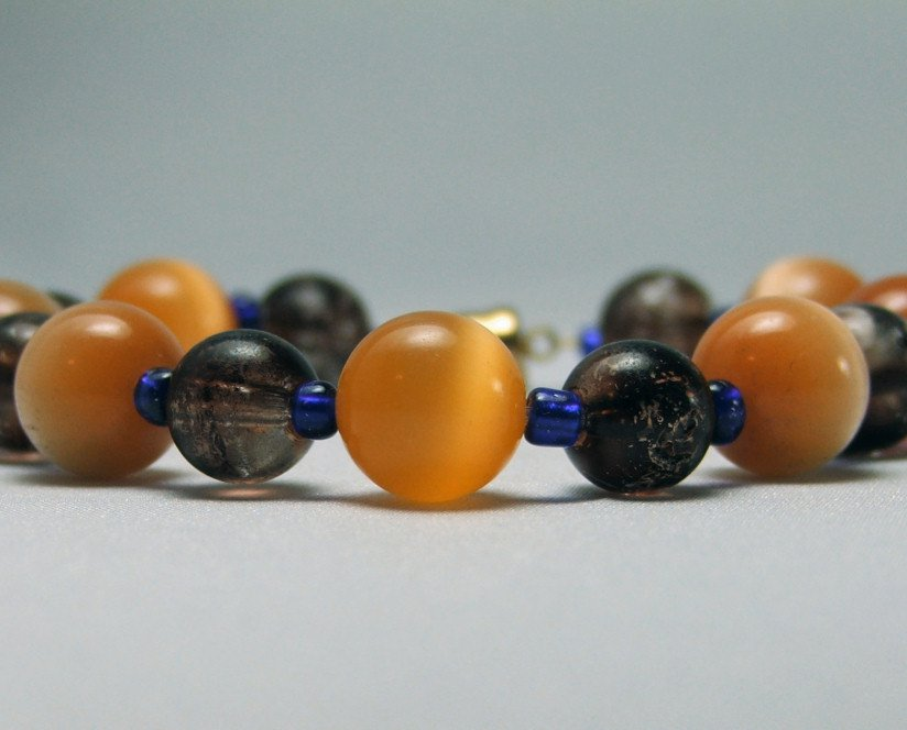 Orange Cats Eye and Brown Glass Beaded Bracelet