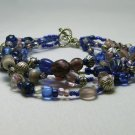 Blue, Purple, and Silver Multistrand Bracelet