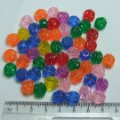 Brightly Colored Fluted Round Acrylic Beads Lot