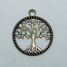 Antiqued Brass World Tree Pendant Set of Four