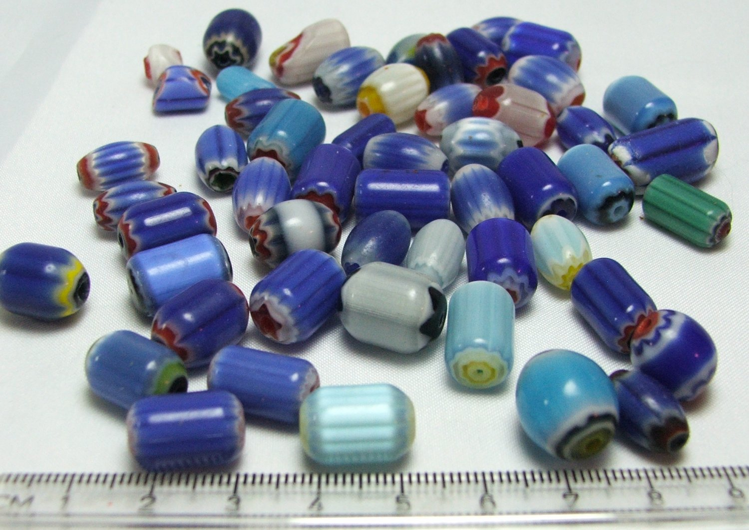 Blue and Red Chevron Glass Beads Lot
