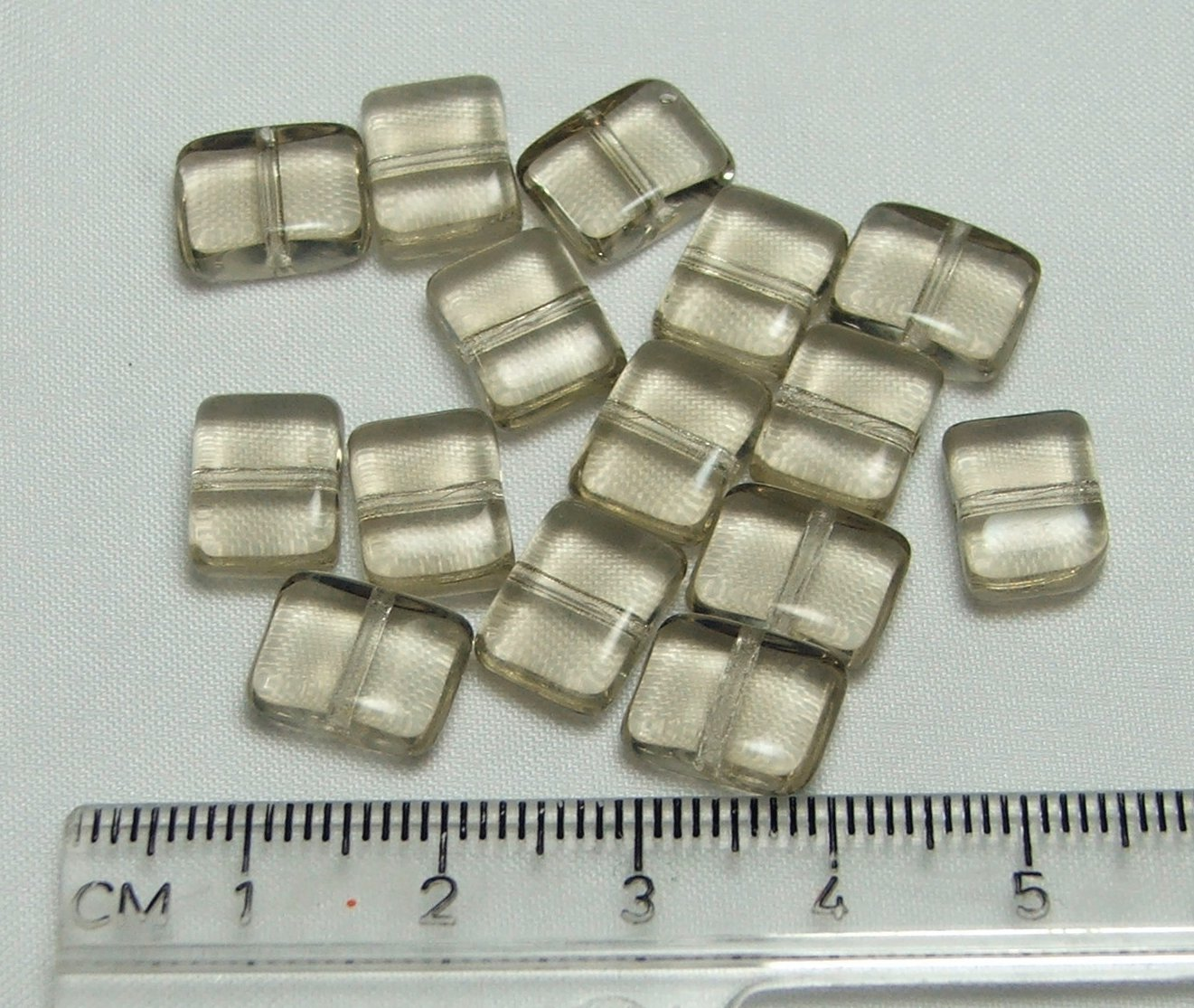 Czech Pressed Glass Puffed Rectangle Clear Beads Lot