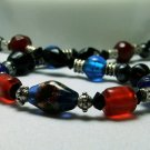 Red, Blue, and Black Glass Bead Princess Necklace