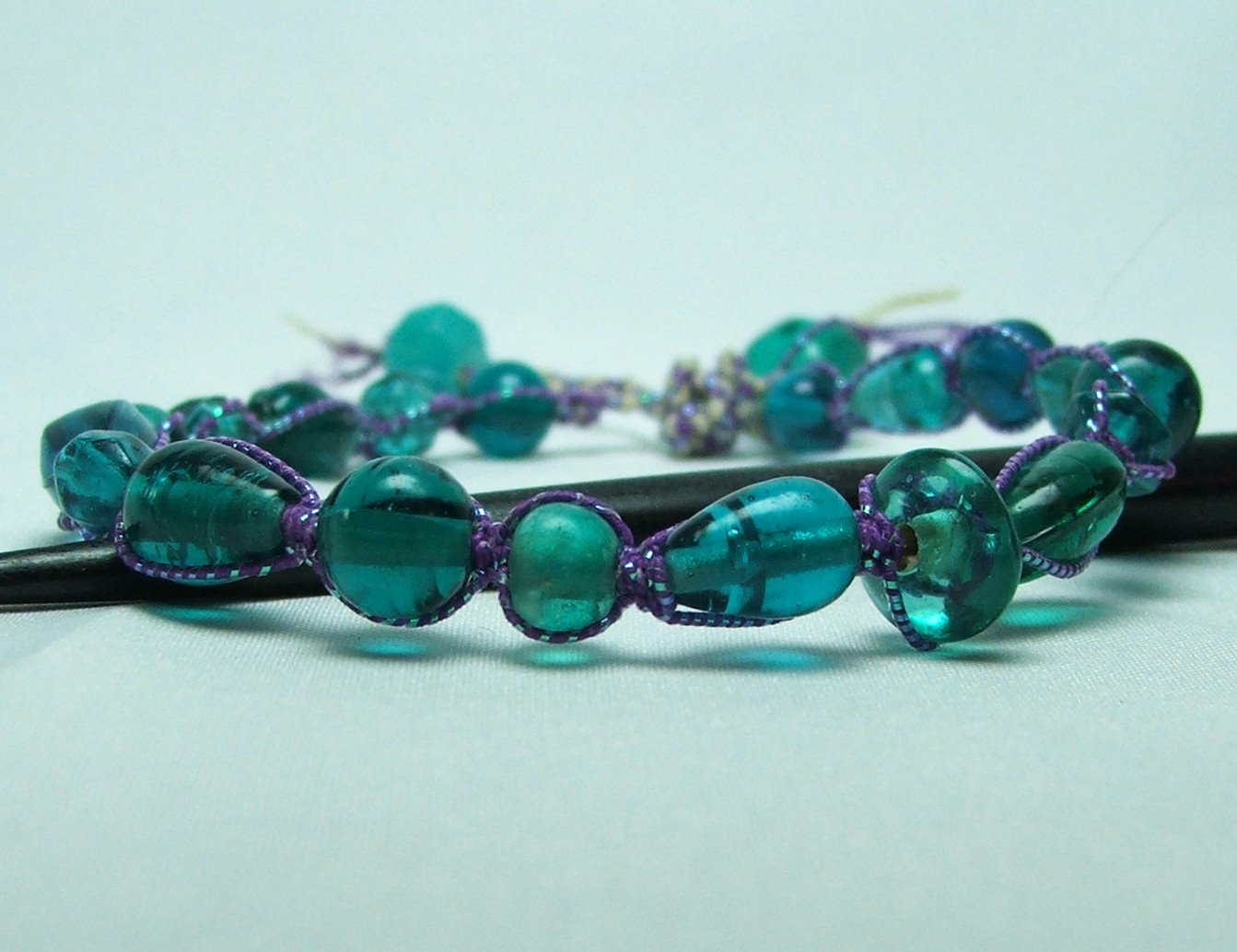 Aqua Glass Bead and Purple Macrame Bracelet