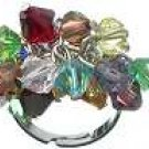 Genuine color Czech Crystal Rhodium Silver Ring
