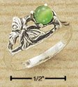 Sterling Silver Antiqued Butterfly Cat Eye Ring
