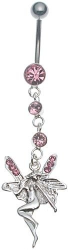 Stainless Steel Banana Belly Ring with Pink Fairy