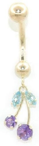 Solid 14k Gold .49tcw Blue Topaz and Amethyst Banana 14-Gauge Belly Ring HOT SELLER