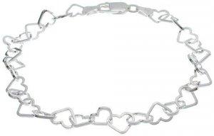 Solid Sterling Silver Heart-link Bracelet