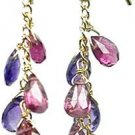 Dangling Genuine Amethyst And Pink Tourmaline 14kt Gold Earrings