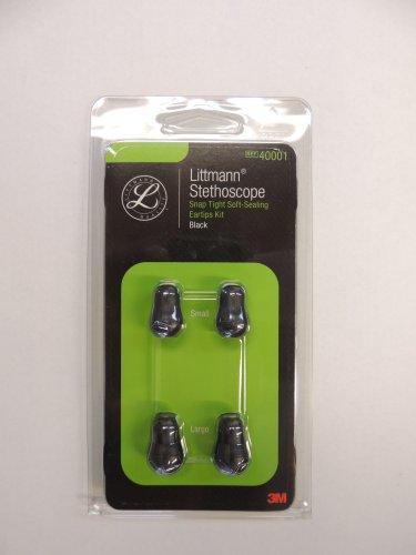 40001 3m LITTMANN Snaptight Soft-Sealing Eartips - SML + LRG / BLACK 2 PAIR