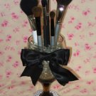 Elegant Wine Glass Makeup Brush Holder With Personalized Bow Color