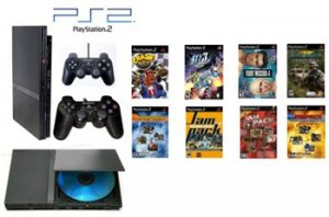 """Slim Sony Playstation 2 """"Basic Bundle"""" - 30 Games with Wireless Controller"""