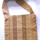 brown natural cotton pouch crossbody shoulder bag , mens womens unisex