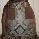 Brown and Blue Damask Fabric Hostess Apron