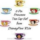 Disney Princess Teacups COMPLETE Hidden Mickey 6 Pin Set