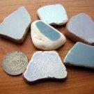 6 BEACH SEA GLASS CERAMIC POTTERY MOSAIC  BLUE PENDANT