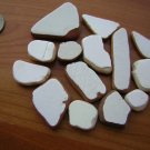 14 BEACH SEA GLASS CERAMIC POTTERY MOSAIC WHITE PENDANT